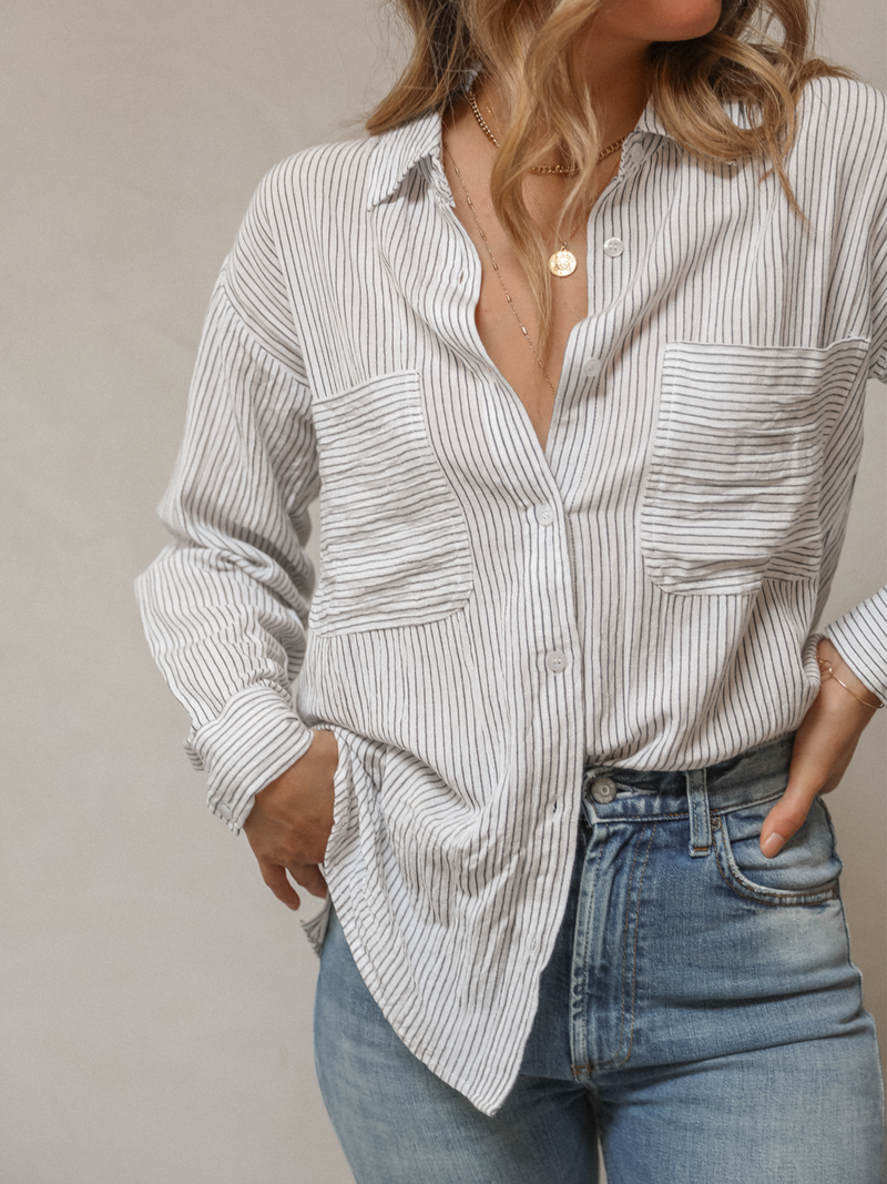Sadie Striped Button Up - Stitch And Feather