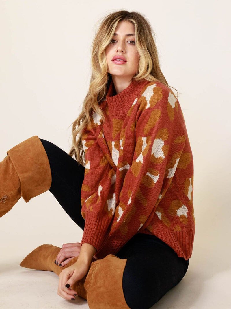 Sunset Leopard Spots Sweater - Stitch And Feather
