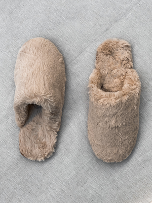 Natural Fuzzy Slippers - Stitch And Feather