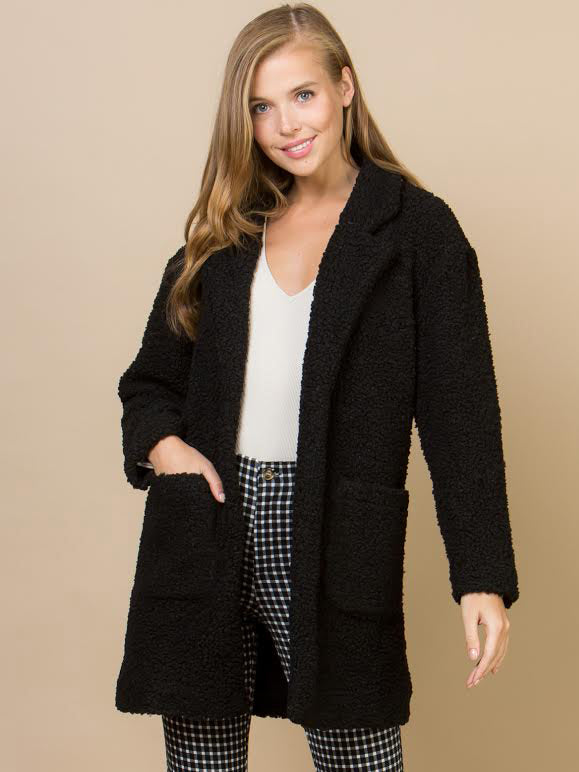 Teddy Bear Coat Black