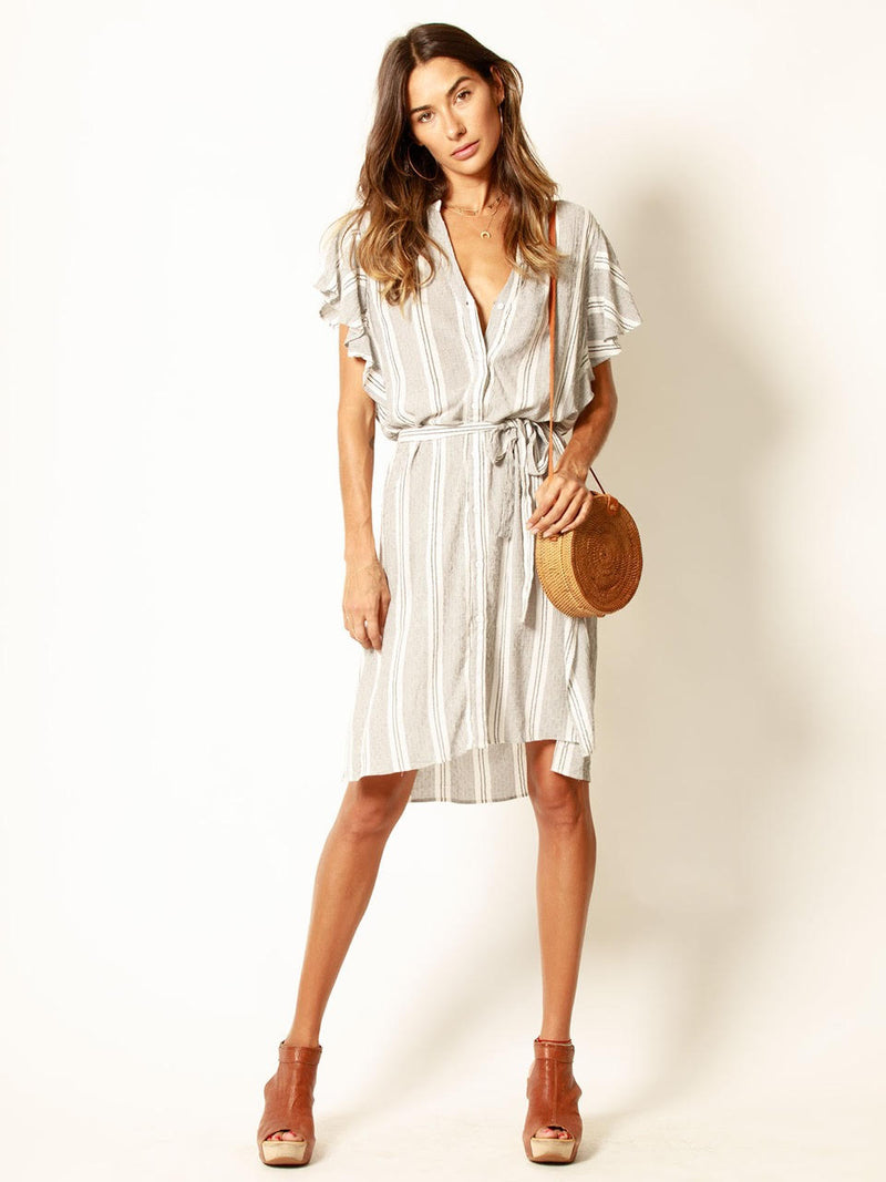 midi, striped, white/black, button down, button up, girly, dress, dressy, casual, event, free, ed15592vy