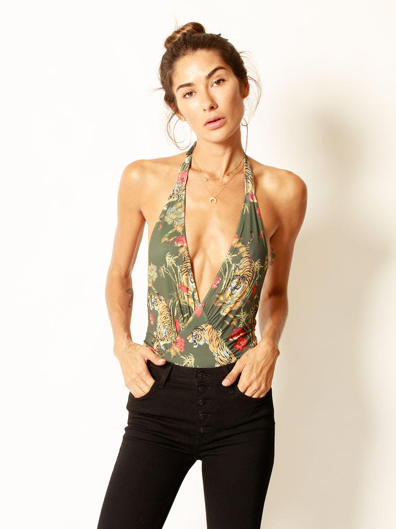 Tiger Lily Plunge Bodysuit Olive - Stitch And Feather