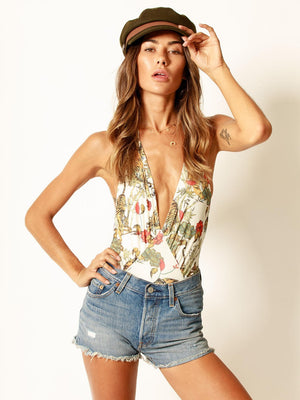 Tiger Lily Plunge Bodysuit Cream - Stitch And Feather