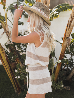 Logan Striped Tank in Taupe - Stitch And Feather