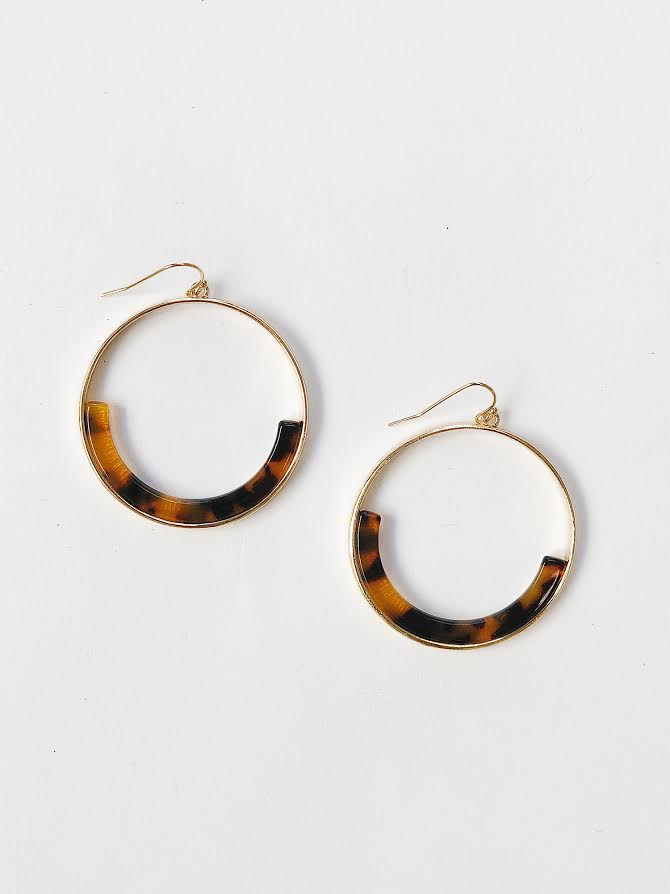 Tort Drop Circle Earrings