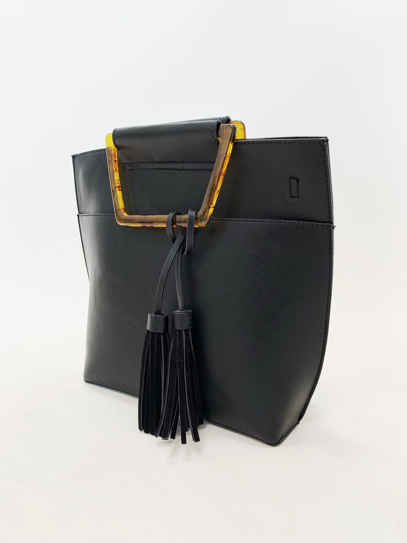 Trapezoid Handle Bag - Stitch And Feather