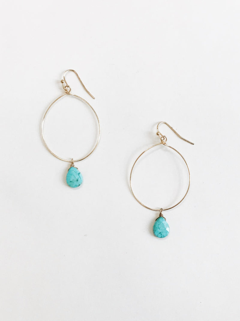 Dangling, long gold wire earrings with textured turquoise beads Gold Wire
