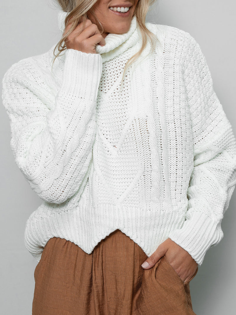 Be Happy Turtleneck Sweater - Stitch And Feather