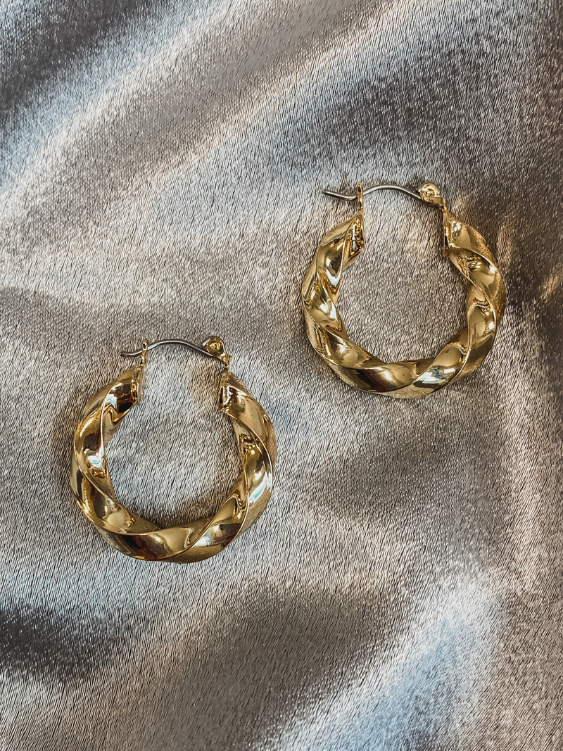 Twisted Gold Hoops - Stitch And Feather
