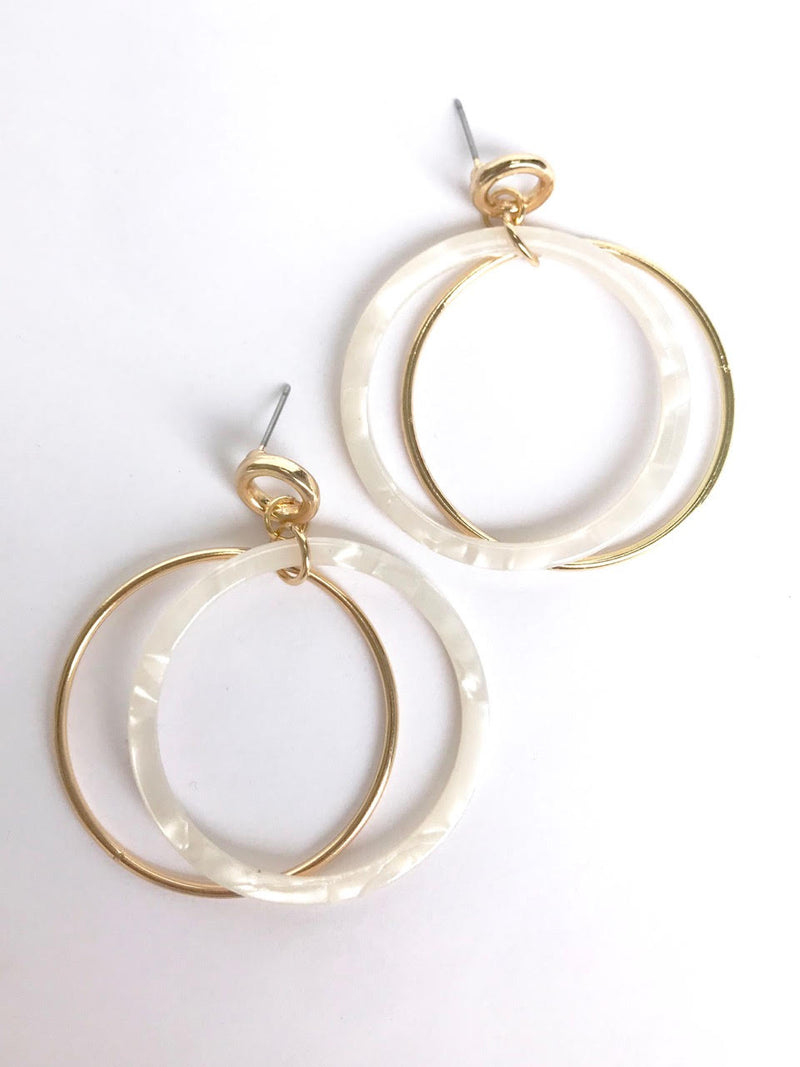 White Tort Earrings