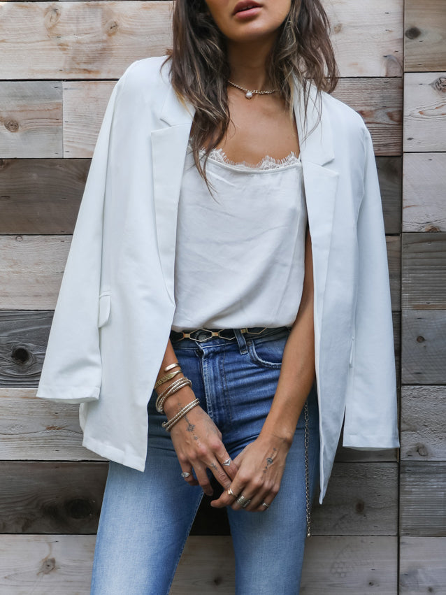 As If Blazer in White - Stitch And Feather