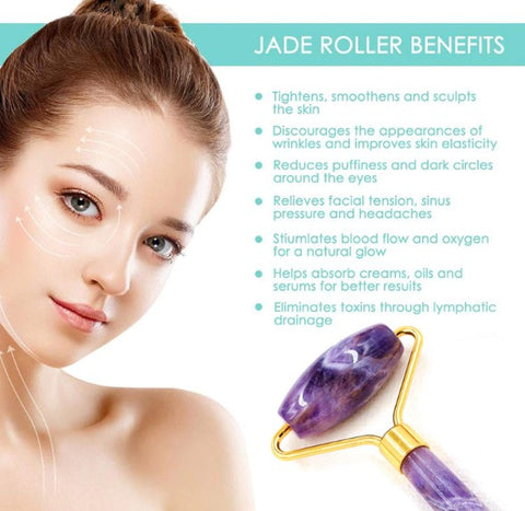 jade rolling roller face facial massager healthy glowing skin care firmer old age saggy skin loose skin blood circulation