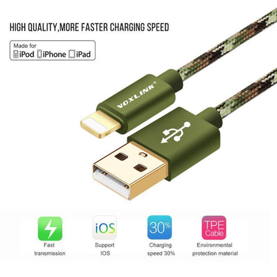 2in1 Braided Army Charger and USB Cable - Craftted