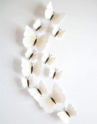 3D Butterfly Wall Decor - 12 Piece Set - Craftted
