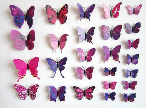 3D Butterfly Wall Decor   12 Piece Set Butterfly Wall Decor Craftted ...