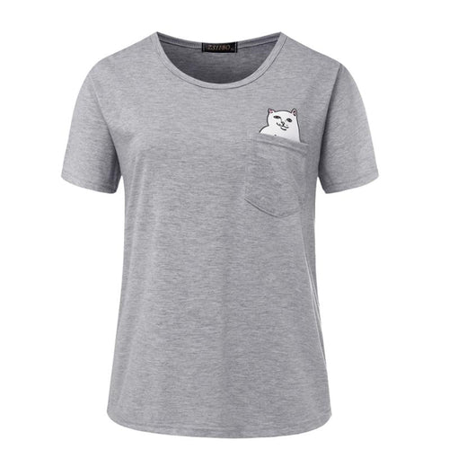 Cute Pocket Cat T-Shirt - Craftted