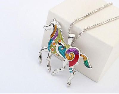 Beautiful Horse Necklace & Earring Set - Craftted