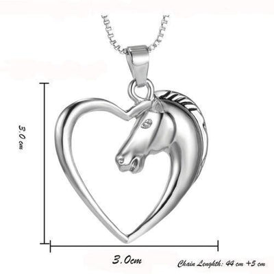 Chic Horse Heart White Necklace -  Silver Plated Necklace - Craftted