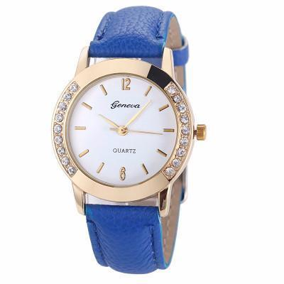 Diamond Leather Analog Watch - Craftted