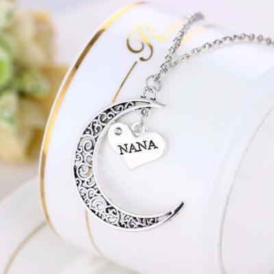 Elegant Crescent-Moon Nana Necklace - Silver Plated-Necklace-Craftted