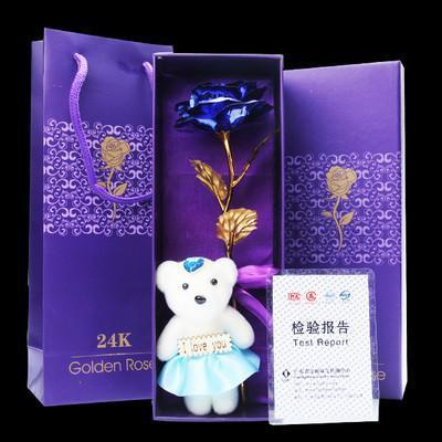Gold Dipped Rose & Bear - Gift Box & Bag - Craftted