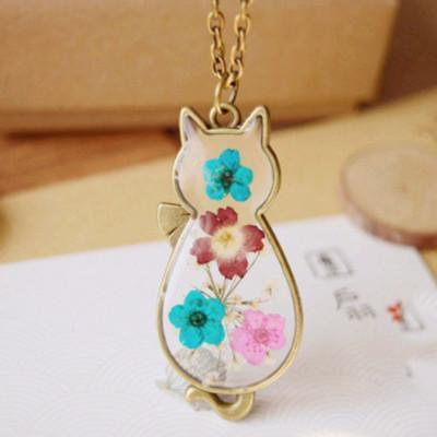 Handmade Retro Flower Cat Necklace - Craftted