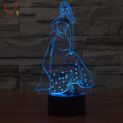 LED Girl Night Light - with Flashing Mode - Craftted