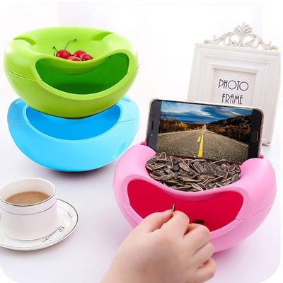 Incredible Double Layer Snack Bowl - With Phone Stand! - Craftted