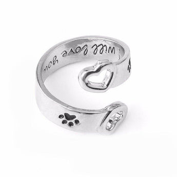 Paw Prints Ring - I Will Love You Forever-Paw Prints Ring - I Will Love You Forever-Craftted
