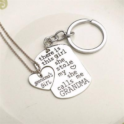Proud Grandma Necklace and Key Chain - Craftted