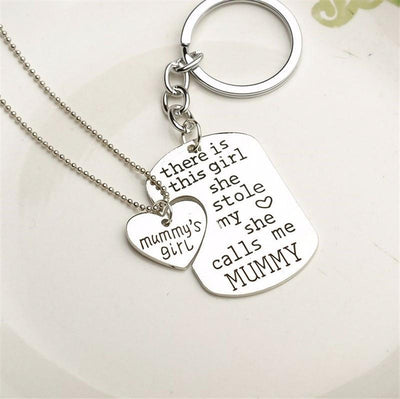 Proud Mommy Necklace & Key Chain - Craftted
