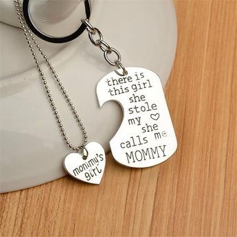 Proud Mommy Necklace & Key Chain-Proud Mommy Necklace & Keychain-Craftted