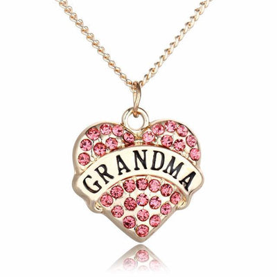 Rhinestone Heart-Shaped Grandma Necklace - Craftted