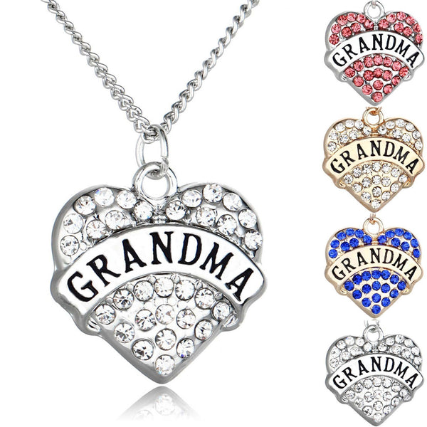 Rhinestone Heart-Shaped Grandma Necklace-Heart-Shaped Necklace-Craftted