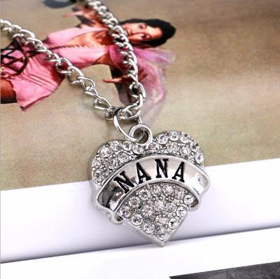 Rhinestone Heart-Shaped Nana Necklace - Craftted