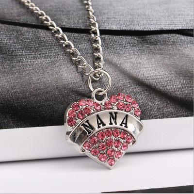 Rhinestone Heart-Shaped Nana Necklace-Heart-shaped Nana Necklace-Craftted