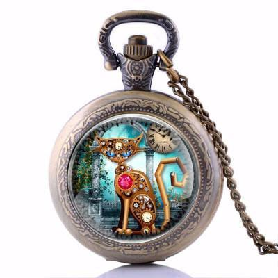 Vintage Steampunk Cat Pocket-Watch Necklace-Steampunk Cat Pocket Watch Necklace-Craftted
