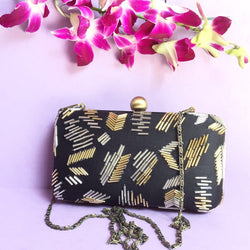 Cut Dana Black Silk Clutch Purse