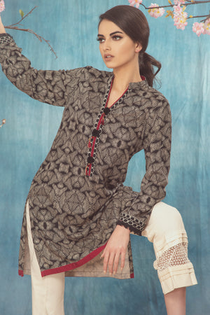 Linen Kurti Black/White with Black Pom Pom