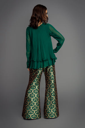 Green Broacde Trouser Suit