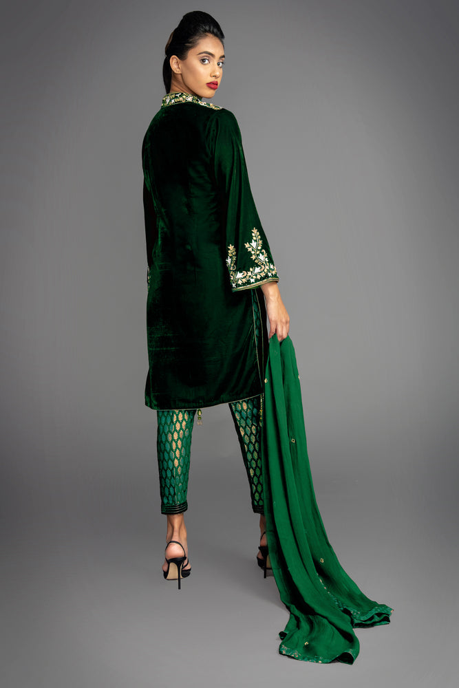 Katrina Mirror Green Velvet Suit