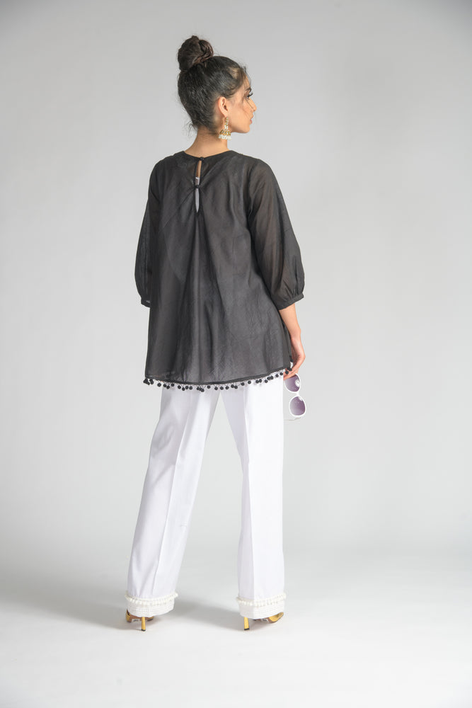 Black Palm Leaf Bias Blouse