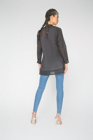 Black Elsa Straight Sleeve Top