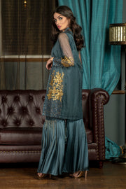 Metallic Flower Coat Gharara