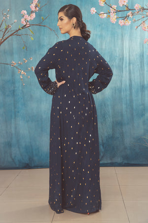 Navy and Gold Foil Coat Dress