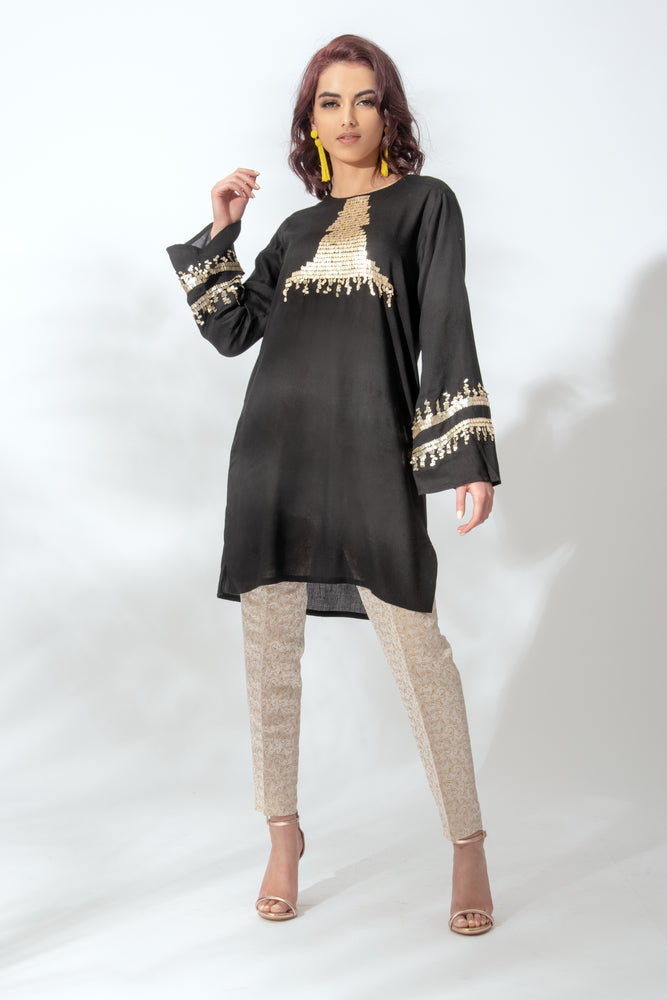 Black Sequin Tunic Suit