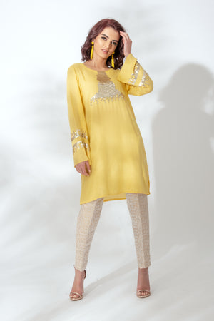 Yellow Sequin Tunic Suit