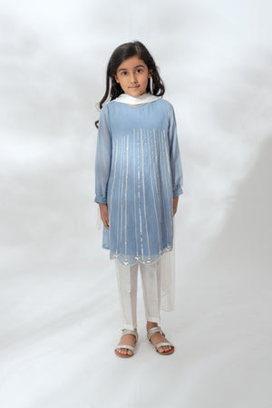Kids Blue Sequin Streak Suit