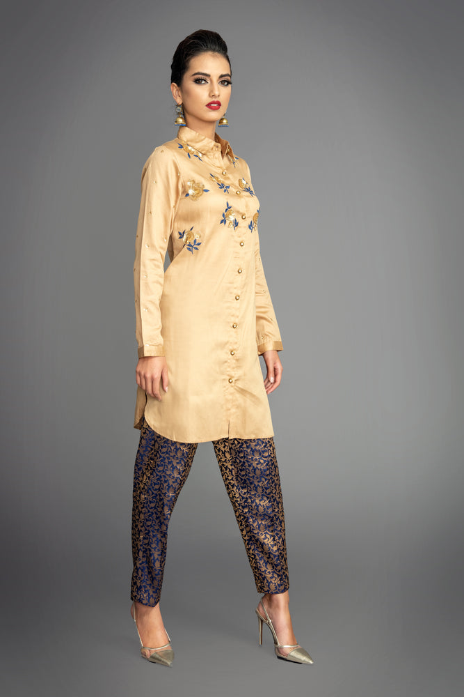 Beige Embellished Shirt Suit