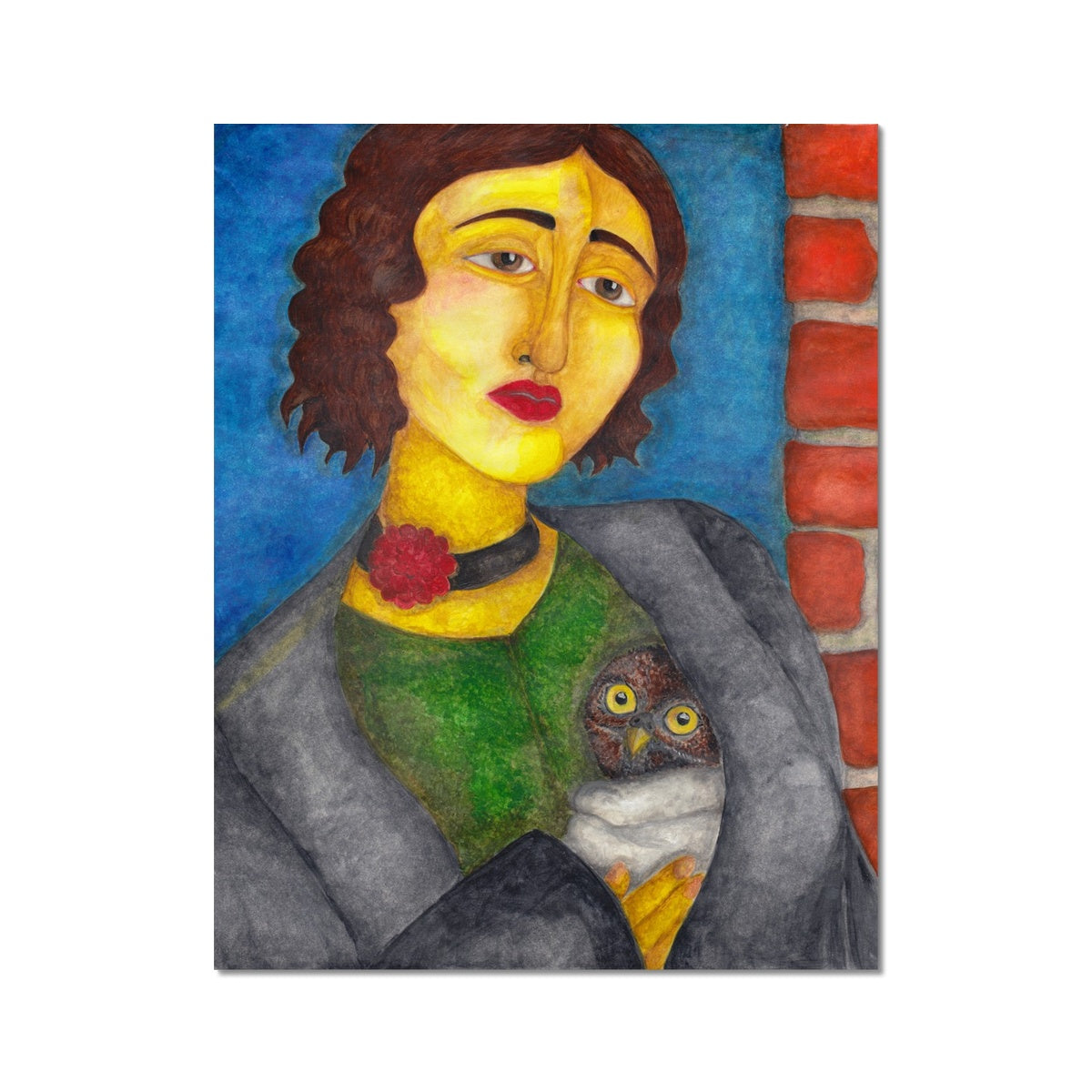 "Art Print, Watercolor Painting, Woman Portrait, Owl, Owlet, Titled: ""Rainy Day"""
